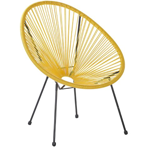 Rattan Accent Chair Yellow ACAPULCO II