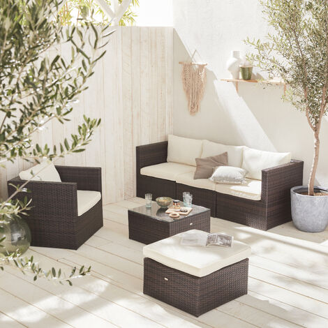 Rattan and aluminium 5-seater garden sofa set chocolate / off white