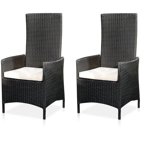 rattan armchair chair garden high back cushions balcony seating black 2er