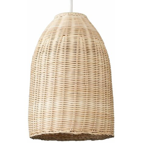 Rattan Basket Ceiling Pendant Light Shade In A Natural Wicker Finish