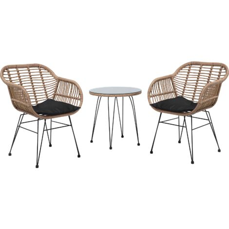Rattan Bistro Set Brown TROPEA