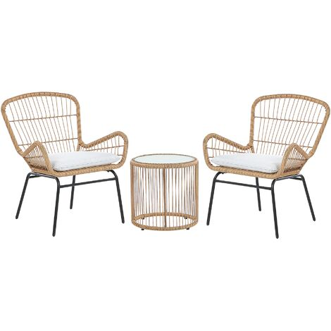Rattan Bistro Set Light Brown LABICO