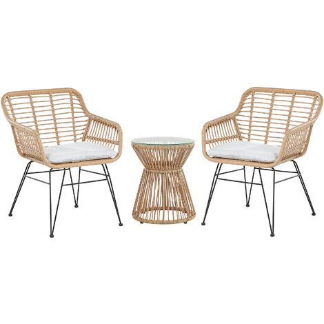 Rattan Bistro Set Light Grey TRESTINA