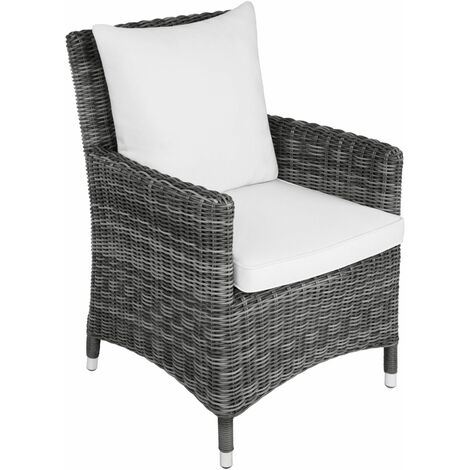 Rattan chair Sanremo - outdoor seating, garden seating, rattan chair - grey/white