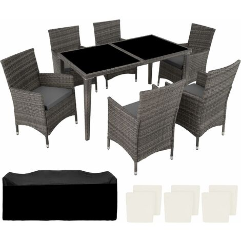 Rattan garden furniture set 6+1 aluminium - garden tables and chairs, garden furniture set, outdoor table and chairs - grey