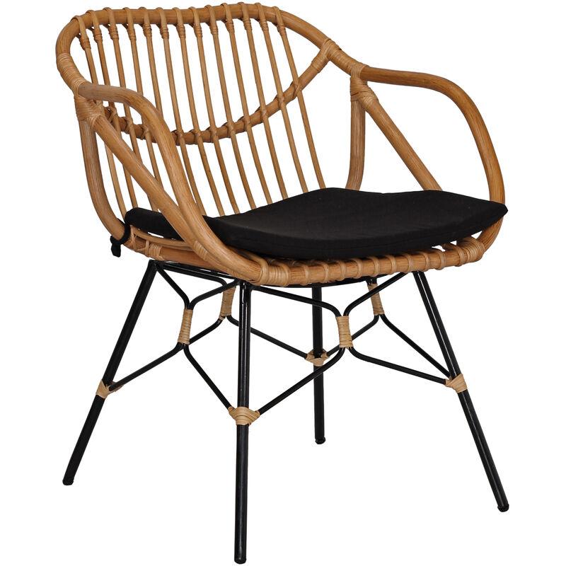 Rattan Clubsessel Retro Style Lounge Sessel Stuhl Küchenstuhl Esszimmerstuhl A00000631 - DYNAMIC24