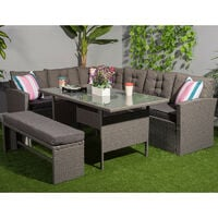 Rattan Corner Garden Sofa Grey 8 Seater with Bench Dining Set Free Cover