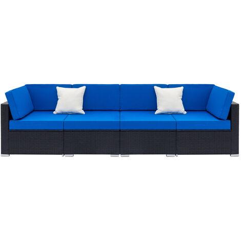 "main image of ""Rattan Corner Sofa Set, L Shape Combination Sofa Bed, 2pcs Corner Couches & 2pcs Single Couches for Living Room Garden Patio Furniture (Blue)"""