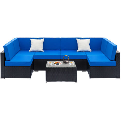 """main image of """"Rattan Corner Sofa Set, L Shape Combination Sofa Bed, 2pcs Single Couches & 2pcs Middle Couches & 1 pc Glass Top Coffee Table for Living Room Garden Patio Furniture (Blue)"""""""