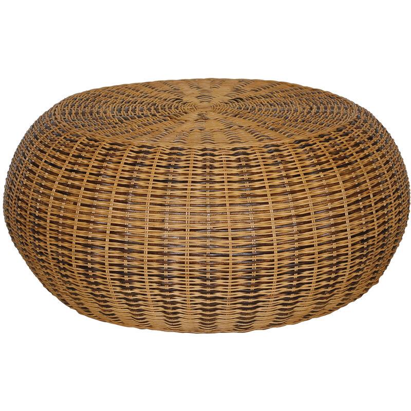 Dynamic24 - Rattan Couchtisch Ø 80cm natur Sofatisch rund Wohnzimmertisch Kaffeetisch Tisch A00000657