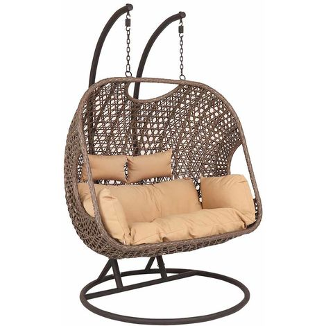 Rattan Double Swinging Egg Chair