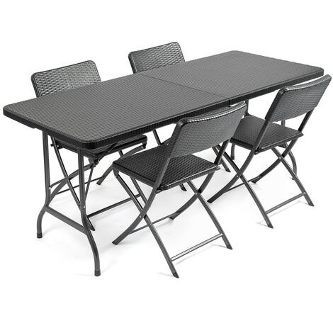 Rattan Effect 4 Seater Dining Set (6ft)