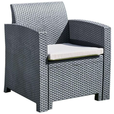 Rattan Effect Armchair Chair with Cushion - Outdoor Patio Garden Furniture