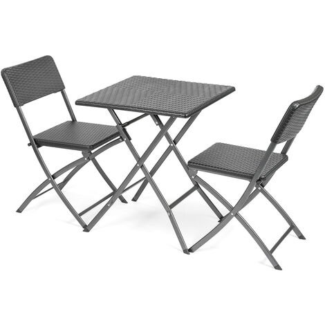 Rattan Effect Bistro Set 3pc