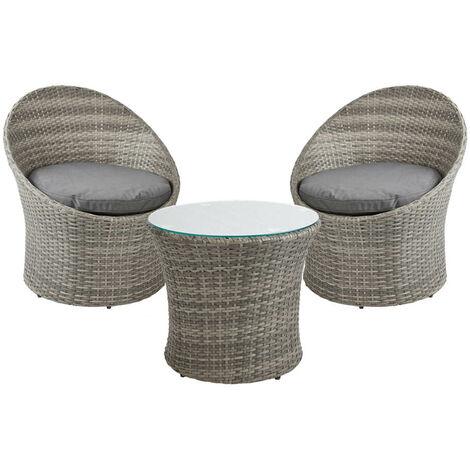 Rattan Effect Egg Chair & Table Bistro Set - Outdoor Patio Garden Furniture