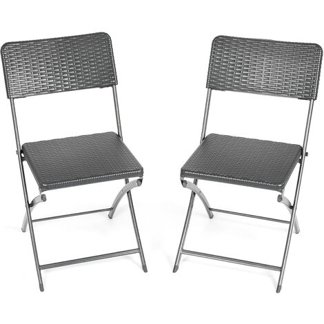 Rattan Effect Folding Chairs (Pair)
