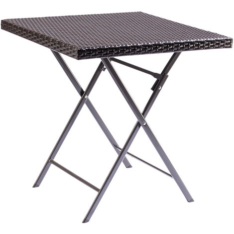 Rattan Effect Square Folding Bistro & Drinks Table - Outdoor Garden Patio