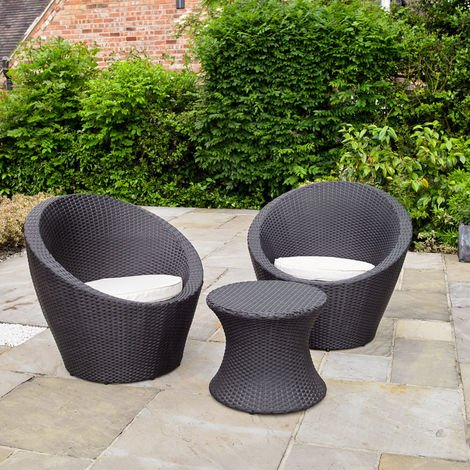 Rattan Effect Table And 2 Egg Chairs Bistro Set Eggc