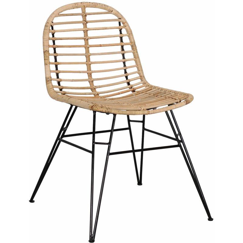 Dynamic24 - Rattan Esszimmerstuhl Retro Style Esszimmer Küche Sessel Stuhl Küchenstuhl A00000632