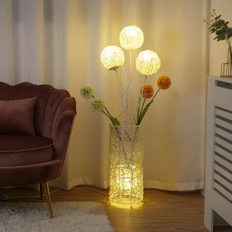 Rattan Floor Lamp Tall LED Bedside Night Light With Dandelion flowers Home Decor