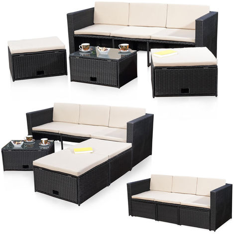 Rattan furniture black seating group Poly Rattan sofa and 2 stools Lounge