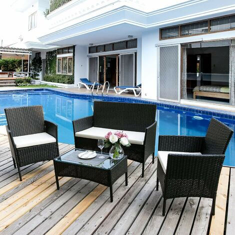 """main image of """"Rattan Furniture Set for Outdoor Garden or Indoor Conservatory, 4 Pcs Set Rattan Sofa Chairs Black"""""""