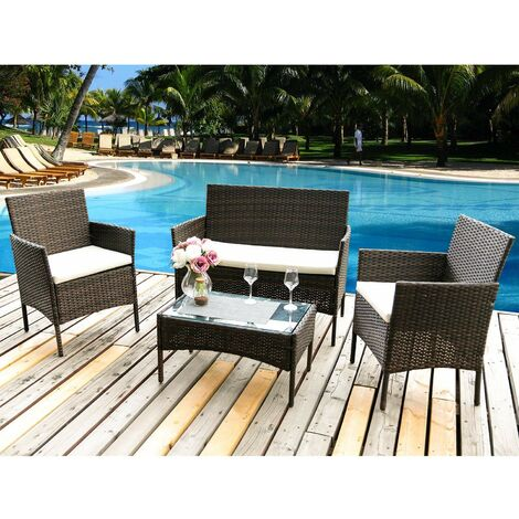 """main image of """"Rattan Furniture Set for Outdoor Garden or Indoor Conservatory, 4 Pcs Set Rattan Sofa Chairs Brown"""""""