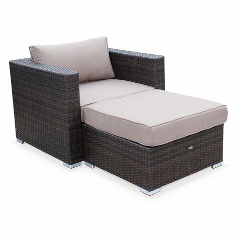 Rattan garden armchair with footrest - Genova