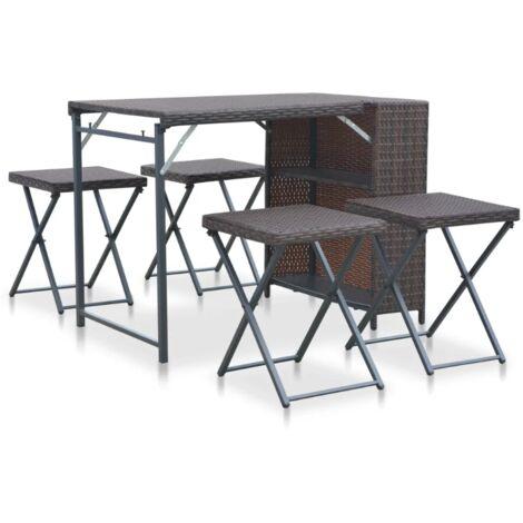Rattan Garden Bar Set Outdoor Folding Furniture Dining Table 4 Stool Patio Chair
