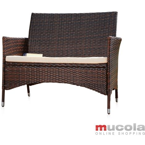 Rattan garden bench black/brown with seat bench Polyrattan seat cushion Sofa