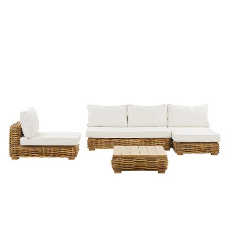 Rattan Garden Conversation Set Brown VARALLO
