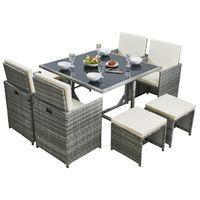 Rattan Garden Cube Set 9 Pcs 8 Seater - Grey/Biege