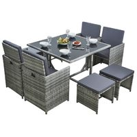 Rattan Garden Cube Set 9 Pcs 8 Seater - Grey/Grey