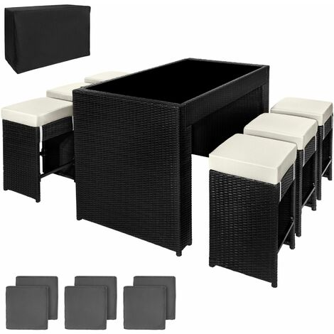 """main image of """"Rattan garden furniture bar set Capri with protective cover - garden tables and chairs, garden furniture set, outdoor table and chairs"""""""