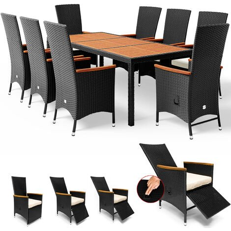 Rattan Garden Furniture Dining Table and Chairs Set Black 8 Seater Rectangular Cube Tiltable Chairs Outdoor Patio Conservatory Seat Cushions
