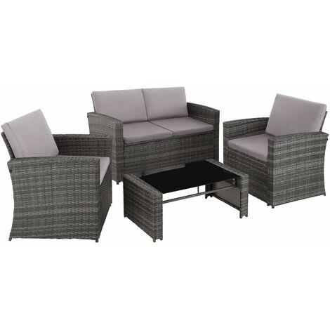 "main image of ""Rattan garden furniture lounge Lucca, variant 2 - garden sofa, rattan sofa, garden sofa set - grey"""
