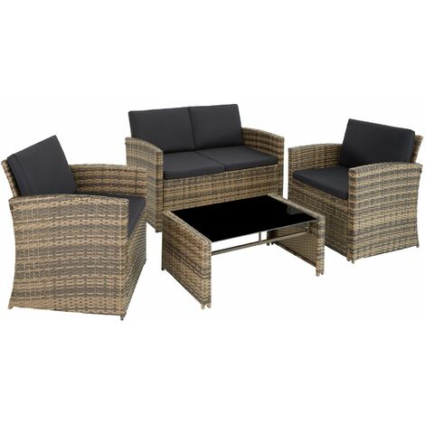 Rattan garden furniture lounge Lucca, variant 2 - garden sofa, rattan sofa, garden sofa set - grey