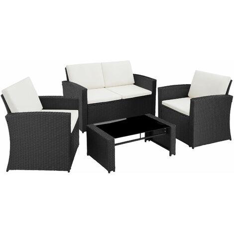 Rattan garden furniture lounge Lucca, variant 2 - garden sofa, rattan sofa, garden sofa set - grey