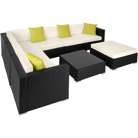 Rattan garden furniture lounge Marbella, variant 2 - garden sofa, garden corner sofa, rattan sofa - black - black
