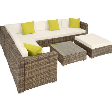 Rattan garden furniture lounge Marbella, variant 2 - garden sofa, garden corner sofa, rattan sofa - black - negro