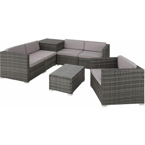 Rattan garden furniture lounge Pisa, variant 2 - garden sofa, garden corner sofa, rattan sofa - grey - grau