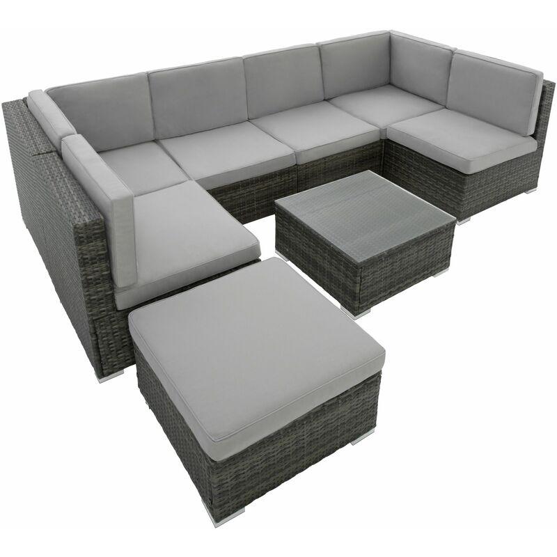 Rattan garden furniture lounge Venice - garden sofa, garden corner sofa,  rattan sofa - grey