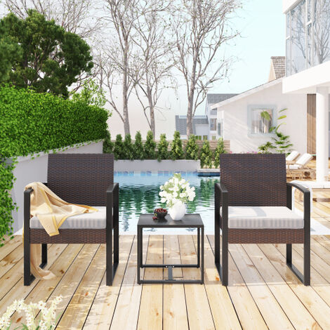 """main image of """"Rattan Garden Furniture Set 3 piece Patio Rattan furniture sofa set with 2 Armchairs and 1 table Outdoor Conservatory Indoor #1"""""""