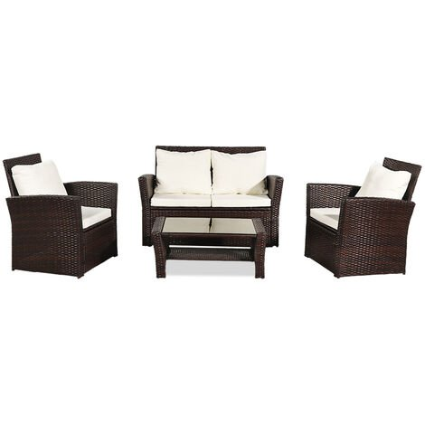 """main image of """"Rattan garden furniture set 4 piece coffee table chair sofa set outdoor terrace swimming pool Brown - Brown"""""""