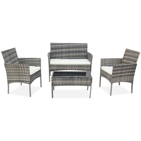 "main image of ""Rattan garden furniture set, 4 seater PE rattan outdoor patio backyard waterproof sofa set Gray - Gray"""