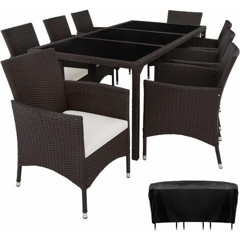 Rattan garden furniture set 8+1 Valencia with protective cover - garden tables and chairs, garden furniture set, outdoor table and chairs - brown