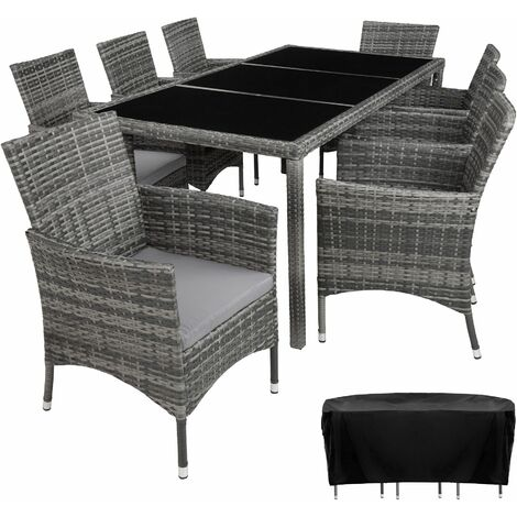 """main image of """"Rattan garden furniture set 8+1 Valencia with protective cover - garden tables and chairs, garden furniture set, outdoor table and chairs"""""""