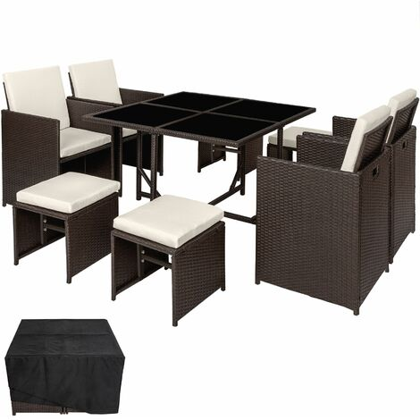 Rattan garden furniture set Bilbao 4+4+1 with protective cover, variant 2 - garden tables and chairs, garden furniture set, outdoor table and chairs - antique brown - antique brown