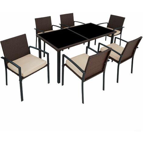 Rattan garden furniture set Brixen 6+1 - garden tables and chairs, garden furniture set, outdoor table and chairs