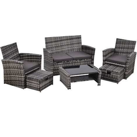 """main image of """"Rattan garden furniture set - garden sofa, garden sofa set, rattan sofa 6 seater sofa set with coffee table and footstools- grey"""""""
